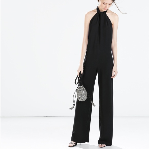 64b2fb573f5f Zara Women s Black Crepe Jumpsuit With Back Bow. M 578ed47e9c6fcf0111014d76