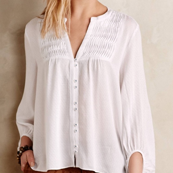 Anthropologie Tops Maeve Pintuck Peasant Blouse Gauze White Button