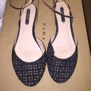 Zara black sandal flats