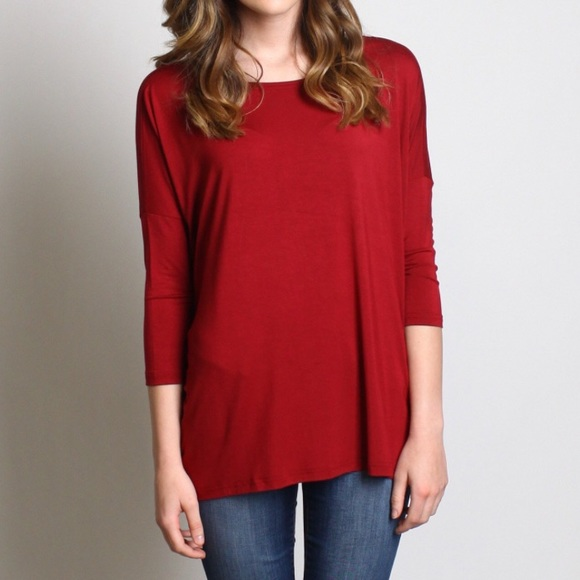 05407c79413 Tops - Burgundy maroon PIKO top