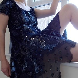 Meadham Kirchhoff Topshop Sequin Lace Goth Dress S