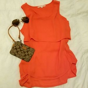 Violet & Claire Tops - Bright orange sleeveless blouse