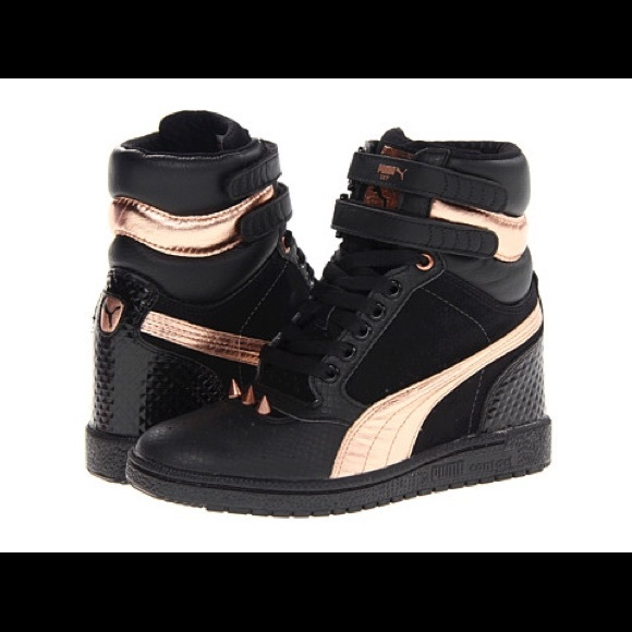 black puma with rose gold