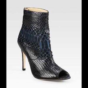 Alexandre Birman Shoes - Alexandre Birman Lola Python Peeptoe Ankle Boots