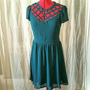 Exhilaration Dresses & Skirts - Teal Caged Lattice Yoke Dress