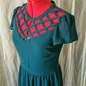 Exhilaration Dresses & Skirts - Teal Caged Lattice Yoke Dress🎈