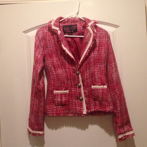 Say What? Jackets & Blazers - Pink/purple Stitch Blazer style Jacket