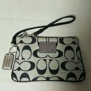 COACH Poppy Tan With Black C's & Silver Wristlet