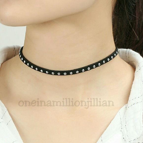 restocked thin black studded choker necklace from