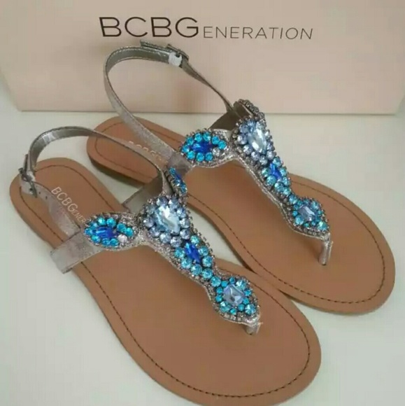 705beaa58 BCBGeneration Shoes - BCBGeneration Baily Jeweled Sandal BCBG Flat Blue