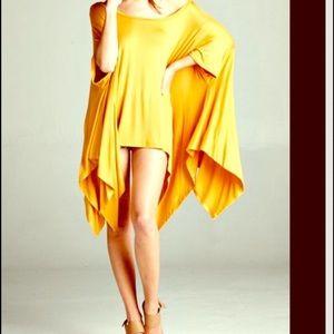 FashionBohoLoco Tops - Mustard Cape T Shirt Tunic Shirt Slip Dress NWOT