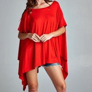 ❗️Boho Red Cape Poncho Tunic