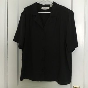 Tops - Black short sleeve button down