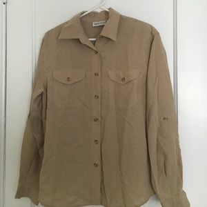 Tops - Light brown striped long sleeve button down