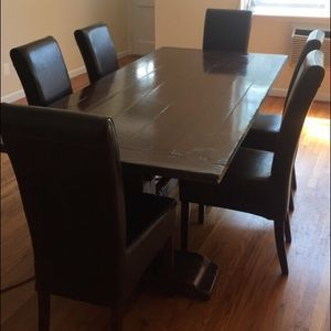 Solid wood dining table with 6 chairs for sale
