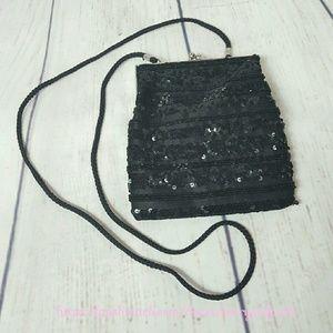 La Regale Handbags - VINTAGE La Regale Black Beaded Evening Bag Clutch