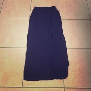 Black sheer maxi skirt