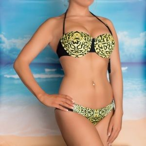Guess animal print swimsuit bikini S new