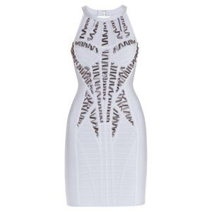 Herve Leger Dresses & Skirts - HERVE LEGER KYARA BEADED CUTOUT-BACK DRESS