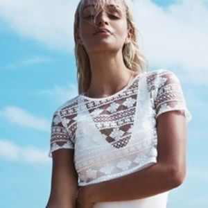 Sabo white lace crop top