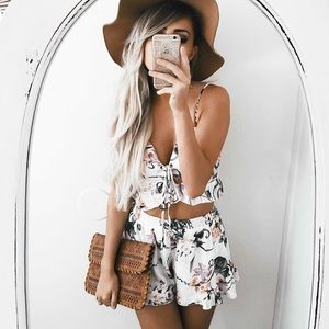 Bare Anthology Pants - Floral Print Shorts Set