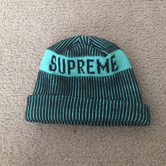 ... Hat  cheaper 24d10 f7630 SUPREME Beanie 💕 Turquoise Black Size OS ... fd7d609bcb0b