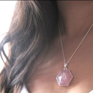 Rose Quartz necklace with Gold