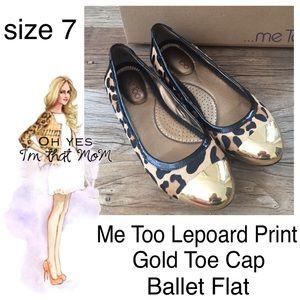 Leopard Print Gold Toe Cap Ballet Flats