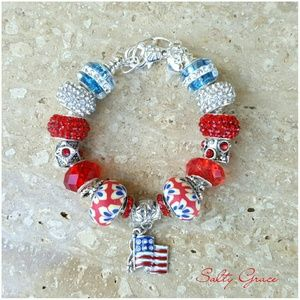 Salty Grace  Jewelry - Red white and blue American Flag bracelet