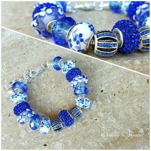 Salty Grace  Jewelry - Royal blue and white bracelet