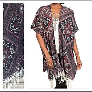 Sweaters - 🔵CLEARANCE🔵Chic Fringe Cardi Kimono Wrap S/M
