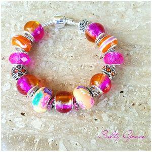 Salty Grace  Jewelry - Hot pink and orange custom bracelet