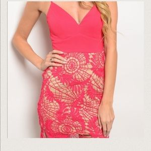 Berry colored dress with scalloped hem