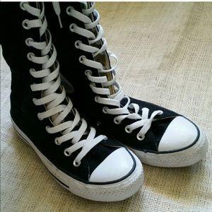 Converse Shoes - Like New Converse Boots Black Canvas Hi Tops