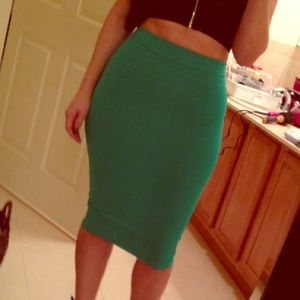 Bebe green stretch bodycon skirt. Size small