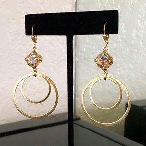 Jewelry - Host Pick Gold & Citrine CZ Stone Dangle Earrings