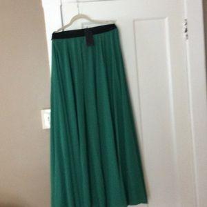 Green full maxi skirt
