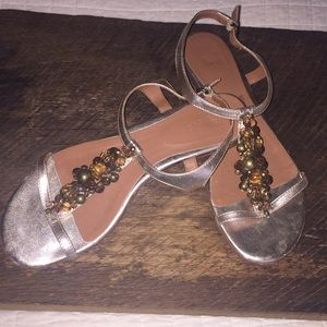 BODEN metallic gold beaded T strap sandals 9.5 ❤️