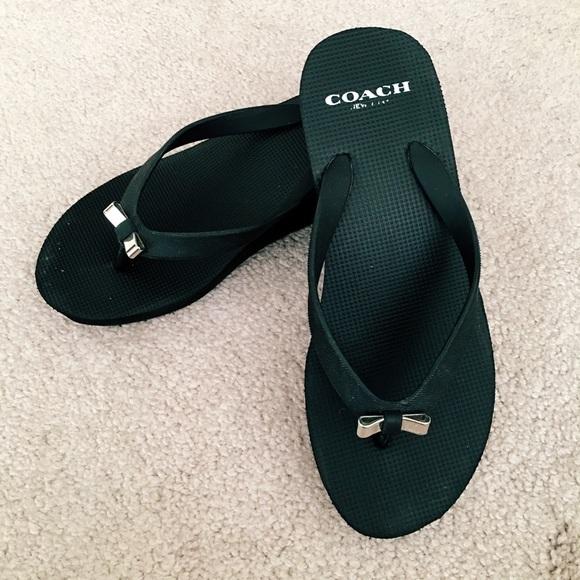 2a48ec755166 Coach Shoes - Coach Bow Wedge Flip Flop Sandals   Size 5