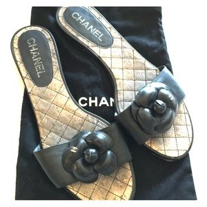 CHANEL Camillia slip on mules sandals sz 39