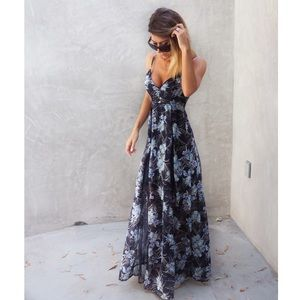 Floral Navy Lace & Chiffon Dress