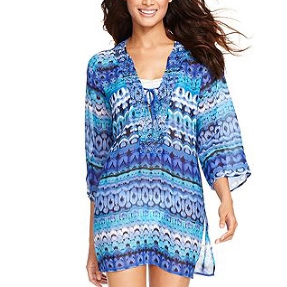 49e5c2ce2c7a1 Raviya Swim | Embellished Ikat Printed Tunic Cover Up Blue | Poshmark