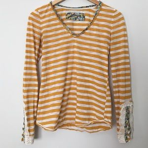 Striped Anthropologie Shirt with Lace