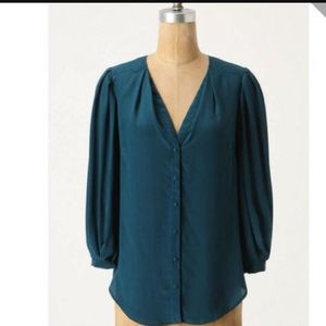 ANTHRO Odille Silk Blouse