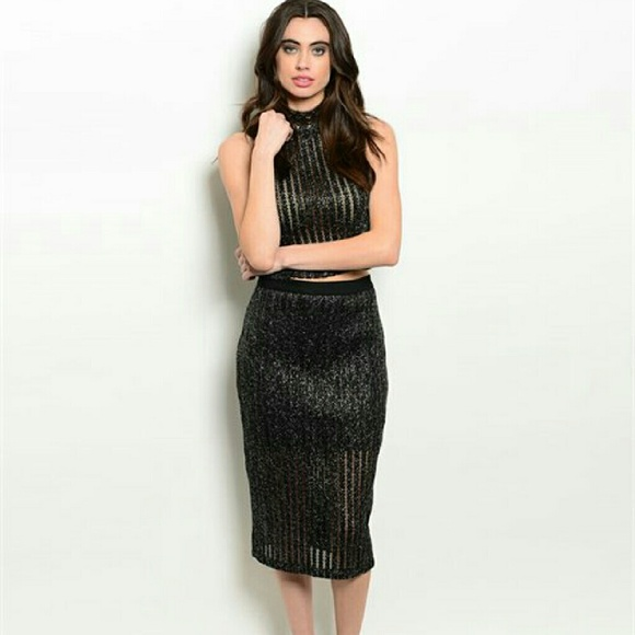 SML Aval' Black & Silver Shimmer Top & Skirt Set S from Kenny's ...