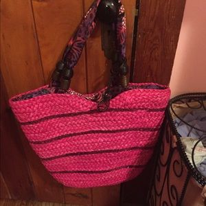 Handbags - Pink Straw Bag with Soft Handles