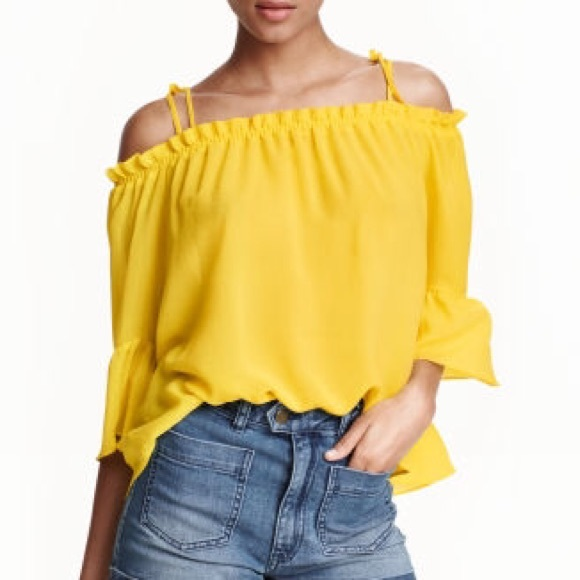 55785eb0600 H&M Tops | Hm Off The Shoulder Yellow Chiffon Blouse | Poshmark