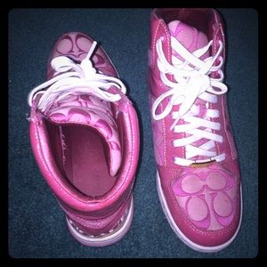 Coach high-top pink sneakers
