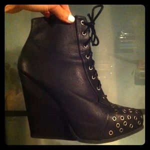 Qupid Black Pleather Lace Up Booties
