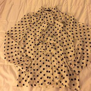 NWT ModCloth Polka Dot Ruffled Blouse